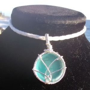 Lite Blue Sea Glass White Leather Celtic Necklace
